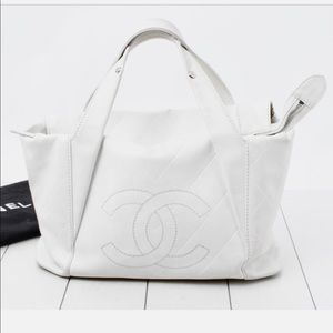 Chanel Quilted CC Logo Calfskin Leather Bowler Bag